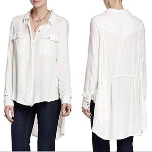 Free People One Of The Guys Hi Low Button Top